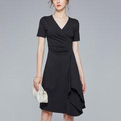 【DesignerWomenwear】Fate Flight/Fate Flight女士连衣裙2020SS气质通勤中款大V领褶皱荷叶边纯色小黑裙图片