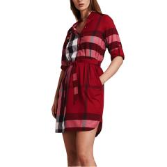 BURBERRY/博柏利  格纹弹力棉质系腰衬衫式连衣裙图片