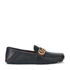 GUCCI 古驰 饰条纹织带皮革驾车鞋450891 DTM10图片