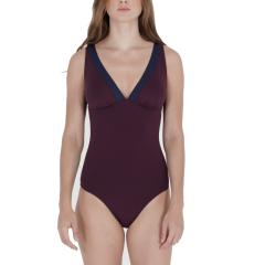 JOG 镂空美背 深V领 性感 拼色撞色 修身显瘦 速干 女士连体泳衣 泳装 20年新款图片