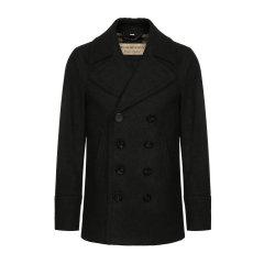 羊毛绒大衣 BURBERRY/博柏利 burberry服装 巴宝莉 男士外套 博柏利大衣 双排扣 深蓝色 外套  男装 男士大衣 80045891图片