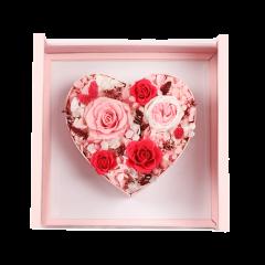 FLOWERSONG/心形方盒/哥伦比亚/厄瓜多尔进口优质永生花玫瑰花七夕情人节送女朋友生日礼物心形礼盒图片