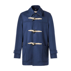 BURBERRY/博柏利 burberry服装 巴宝莉 大衣 男装 羊毛混纺 牛角扣 深蓝色 夹克 外套 男士大衣80084791图片