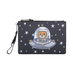 【包邮包税】MOSCHINO/莫斯奇诺女士太空熊印花时尚手拿包2T84478210图片