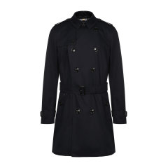 BURBERRY/博柏利 burberry服装 巴宝莉 肯辛顿版型 中长款 纯棉 翻领 黑色 双排扣附腰带 外套 大衣 男士风衣80188301图片