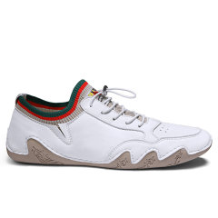 VBT 男士小皮鞋秋季新款真皮休闲白色鞋子薄底懒人鞋软面男鞋夏图片