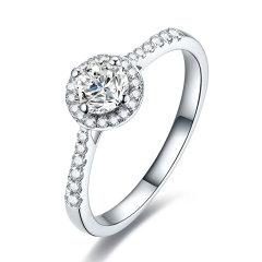mingzuan/鸣钻国际 18K金/PT950铂金钻石戒指 铂金钻石群镶显钻求婚结婚戒指 女礼物图片