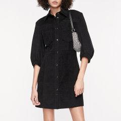 MO&Co./摩安珂女士连衣裙2020秋季新品泡泡袖绒面衬衫连衣裙MBO3DRS043图片