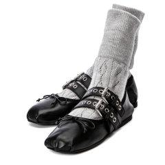 【米兰现货直发】MIUMIU平跟鞋5F152C NAPPA+LANA NERO+PERLA MD图片