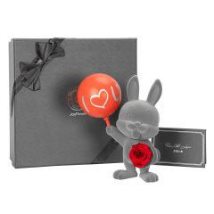 JoyFlowe七夕情人节礼物进口永生花礼盒-告白气球甜心兔图片