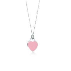 【预售两周发货】Return To Tiffany系列 粉色珐琅心形小号吊坠项链图片