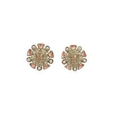 CHANEL/香奈儿 女士粉色/白色金属圆形镶嵌珍珠时尚耳钉 AB2520图片