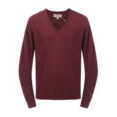 卫衣针织 BURBERRY/博柏利 burberry服装 羊毛酒红色罗纹美利奴男士针织衫/毛衣  羊毛衫 开衫 上装 40690331图片