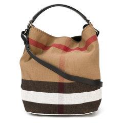 BURBERRY/博柏利  女士黑色帆布经典格纹水桶包手提单肩包图片