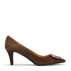 意大利进口女鞋尖头浅口玳瑁方扣羊皮细跟高跟鞋图片