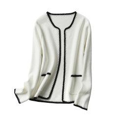 GeleiStory/GeleiStory手工编织撞色小香风外套女无扣短款羊毛针织开衫2020春女士针织衫/毛衣图片