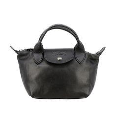 Longchamp/珑骧 黑色/海军蓝皮质经典皮质饺子包女士手提包单肩斜跨包 L1500 757 001图片