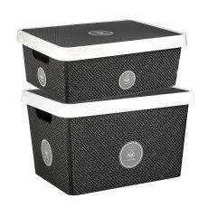 Gondol土耳其进口Vinto系列收纳箱   叠加组合婴幼儿衣物杂物储物箱  树脂多彩儿童玩具收纳筐复古收纳盒 (17+11升套装)图片
