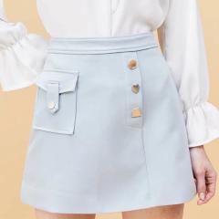 【DesignerWomenwear】Fate Flight/Fate Flight/女士半身裙/天真蓝金属扣优雅A字半裙图片