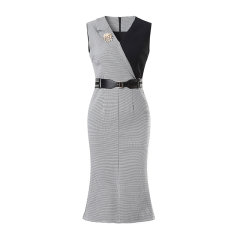 【DesignerWomenwear】Fate Flight/Fate Flight/女士连衣裙/气质名媛V领拼接撞色千鸟格修身显瘦礼服裙图片