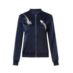 【DesignerWomenwear】Fate Flight/Fate Flight/女装>女士外套>女士夹克/时尚花鸟图刺绣拼螺纹长袖休闲棒球服图片