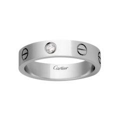 【预售两周发货】卡地亚 Cartier 戒指 LOVE结婚对戒 8K白金,镶嵌1颗圆形明亮式切割钻石,总重0.02克拉 宽度:4毫米 B4050500图片