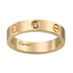【预售两周发货】卡地亚 Cartier 戒指 LOVE结婚对戒 黄金,镶嵌1颗圆形明亮式切割钻石,总重0.02克拉 宽度:4毫米 B4056100图片