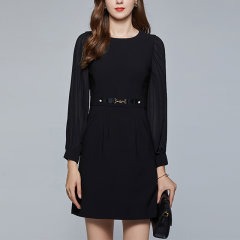 【DesignerWomenwear】Fate Flight/Fate Flight/女士连衣裙/通勤圆领网纱拼接长袖腰扣A字小黑裙图片