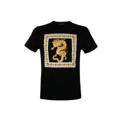 VERSACE/范思哲棉质黑色男士短袖T恤A83583 A230782 A008图片