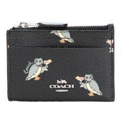 COACH/蔻驰奢侈品女士动物派对系列黑色图案款人造革短款卡包零钱包钥匙包F79929SVA47图片