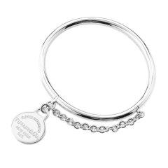 Tiffany&Co./蒂芙尼女士925银精美圆形银牌手链手镯352434961图片
