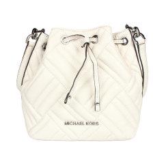 【包税】Michael Kors/MK 迈克科尔斯 女士皮质抽绳绗缝单肩水桶包 35T9UP6C0T白色 均码图片