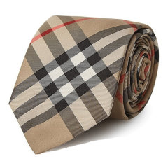 BURBERRY/博柏利  领带男士炭灰色格纹经典剪裁真丝领带【预售,10到15天发货】 80172651图片