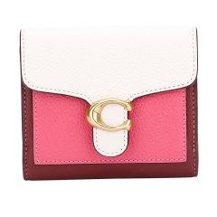 COACH/蔻驰奢侈品女士专柜款人造革配皮短款钱包粉色拼色891B4QUK图片