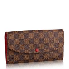 【包税】Louis Vuitton/路易威登  EMILIE系列 女士长款钱包棕色棋盘格翻盖粉色按扣女款钱包图片