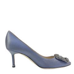 Manolo Blahnik  灰色/金粉色7cm缎面高跟鞋图片