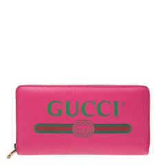 【20春夏】GUCCI/古驰  女士粉红/黑色皮质经典标志长款钱夹钱包4963170GCAT8840图片