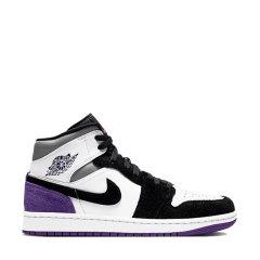 Nike/耐克 Air Jordan 1 Mid 男女同款 AJ1黑紫 白紫脚趾 中帮情侣休闲运动鞋篮球鞋 852542-105/BQ6931-105图片