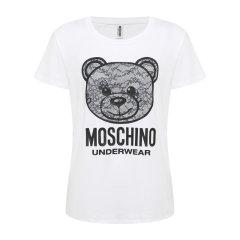 MOSCHINO/莫斯奇诺 2020新款时尚花小熊印花图案黑色修身女士短袖T恤A191390190555图片