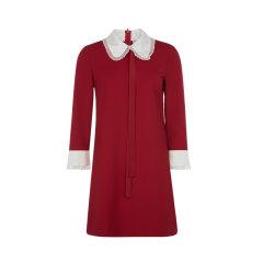 【20秋冬新品】Red Valentino/Red Valentino 拼色设计蕾丝边装饰娃娃领女士连衣裙图片