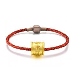 GZUAN/古钻 六字真言 黄金足金3D硬金转运珠男女款红绳手链手串 JXYJS0008图片
