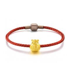 GZUAN/古钻 福袋 黄金足金3D硬金转运珠男女款红绳手链手串 JXYJS0006图片