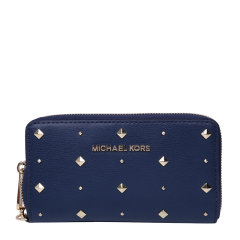 MichaelKors/迈克·科尔斯女士时尚牛皮革铆钉装饰长款钱包图片