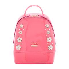 FURLA/芙拉 女士粉色PVC花朵装饰时尚双肩背包果冻包 女包 多色可选图片