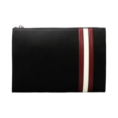 BALLY/巴利 男包 男士黑色皮质荔枝纹经典红白条纹手拿包 6226292图片