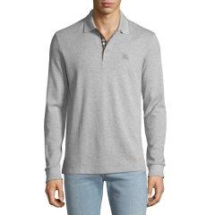BURBERRY/博柏利  格纹开襟珠地网眼布棉质 Polo 衫  前胸饰有马术骑士绣标图片