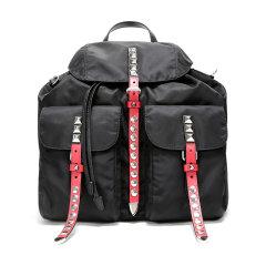 PRADA/普拉达 女士BlackNylon系列拼色织物铆钉装饰双肩包 1BZ811 2BYB图片