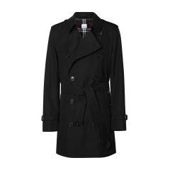 BURBERRY/博柏利 burberry服装 巴宝莉 男士外套 肯辛顿版型 中长款 纯棉 翻领 黑色 双排扣附腰带 外套 大衣 男士风衣80188301图片