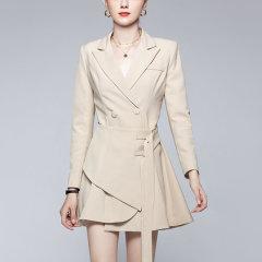 【DesignerWomenwear】Fate Flight/Fate Flight/女装>女士裙装>女士连衣裙/气质收腰西装裙时尚洋气短款纯色侧腰带不规则连衣裙图片