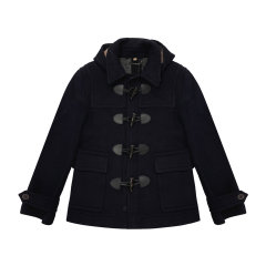 BURBERRY/博柏利 burberry服装 巴宝莉 男装 男士外套 羊毛混纺 黑加仑色 牛角扣 男士大衣 39841911XG图片